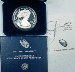 2014-W Proof American Silver Eagle $, OGP
