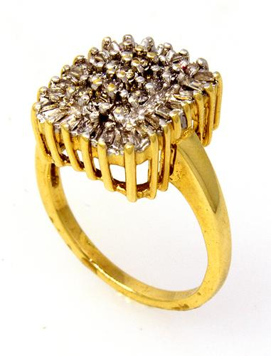 Square Cluster Diamond Ring in Gold, Size 6.75