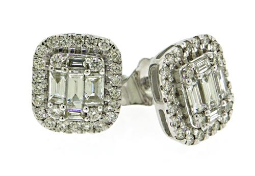 18kt Diamond Halo Baguette Earrings