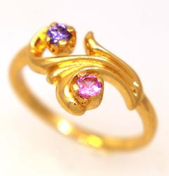 Pink Sapphire & Purple Crystal Gold Ring, Size 6.5