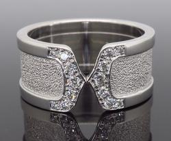 Cartier Double C Logo Diamond Ring