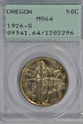 Basic Gem BU 1926-S Oregon Trail Half. Old PCGS MS64