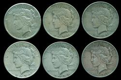 6 Diff. Better date Peace Silver Dollars 1927 to 1935-S