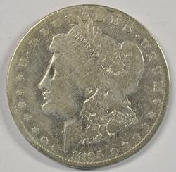 Rare key date 1895-S Morgan Silver Dollar. Circ