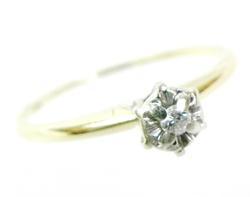 Vintage 14K Petite Diamond Ring