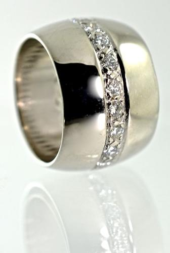 Wide 14K White Gold Band with Eternity Circle of Diamonds