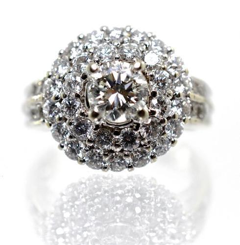 Impressive High End 18K Diamond Cluster Ring