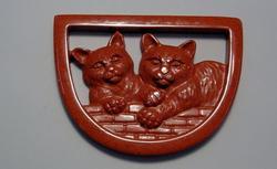 Natural Red Jasper Carved Cat Pendants