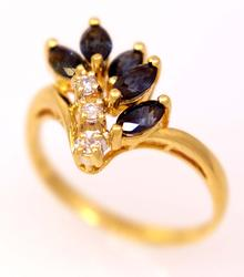 Sapphire & Diamond Ring in Gold, Size 6.25