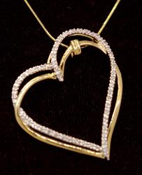 Elegant Diamond & Gold Heart Pendant on 18in Chain