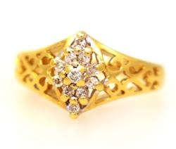 Petite Diamond Ring in Gold, Size 3.5