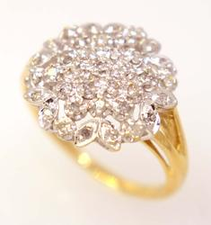 Floral Diamond Ring in Gold, Size 7