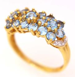 Blue Topaz Cluster Ring in Gold, Size 6