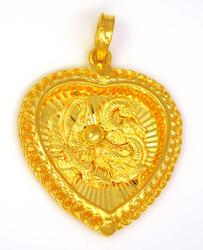 Exquisite 24K Gold Dragon Heart Pendant