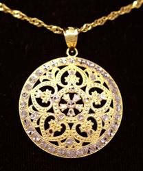 Ornate Two-Tone Round Pendant on 24in Chain