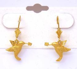 Lovely Gold Hummingbird Dangle Earrings