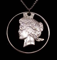 Cut-Out Peace Dollar Pendant on 24in Chain