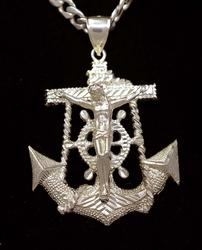 Large Anchor Cross Pendant on 24in Chain