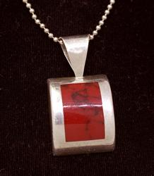 Red Jasper Pendant on 16in Beaded Chain