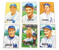 6 Bowman 1951 Washington Senators Baseball Cards