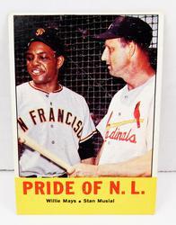 Rare Willie Mays & Stan Musial 1963 Baseball Card
