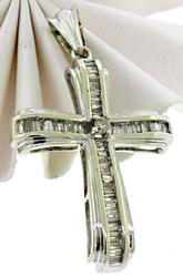 18KT Baguette Diamond Cross Pendant
