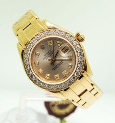 Ladies 18K Yellow Gold Rolex Diamond Masterpiece