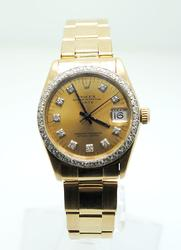 18K Yellow Gold Mid-Size Rolex Date With Diamonds