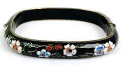 Vintage Chinese Cloisonne Hinged Bangle Bracelet