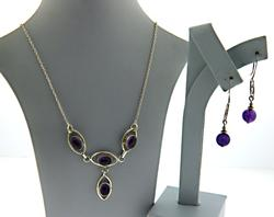 Set of Amethyst Necklace and Earrings