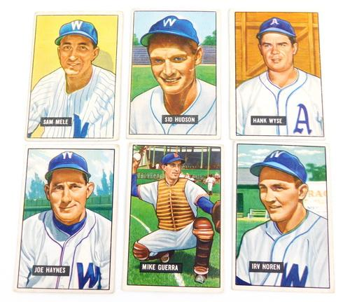 6 Bowman 1951 Washington Senators Baseball Cards