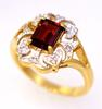 Vintage Garnet & Diamond Ring in Gold, Size 6.5