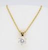 14K Yellow Gold Solitaire Diamond Necklace