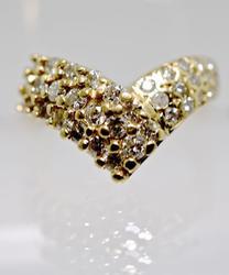 14K Chevron Shaped Diamond Cluster