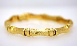 14K Gold Patterned Link Bracelet, 7in