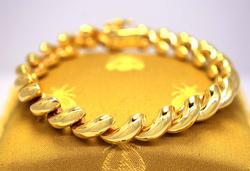 Brilliant Gold San Marco Link Bracelet, 7.25in