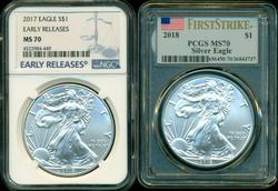 2 Perfect Silver Eagles: 2017 NGC MS70 & 2018 PCGS MS70