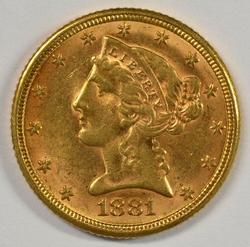 Lustrous 1881-P US $5 Liberty Gold Piece