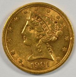 Very pretty 1901-S US $5 Liberty Gold Piece