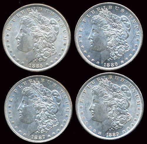 4 Diff. Choice BU 'P' Mint Morgan Silver Dollars