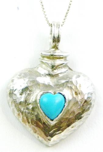Sterling Turquoise Heart Pendant & Chain
