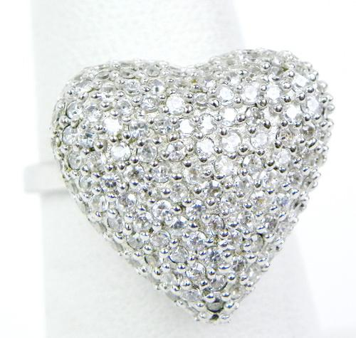 Big Sparkly Pave CZ Sterling Heart Ring