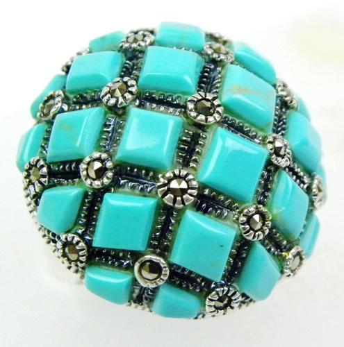 Big Domed Sterling Turquoise & Marcasite Ring