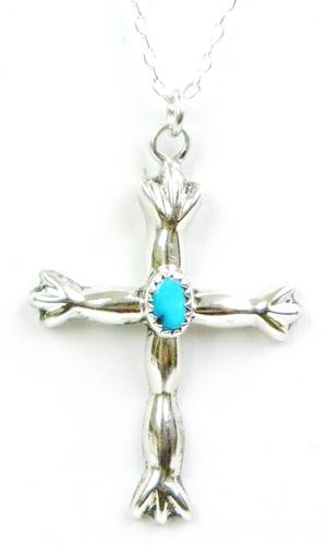 Vintage Signed Navajo Sterling Turquoise Cross & Chain