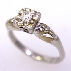 Flower Diamond Ring in White Gold, Size 5.5