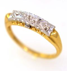Two Tone Gold Band with Diamonds, Size 6
