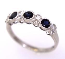 Elegant Sapphire & Diamond Ring in White Gold, Size 4.75