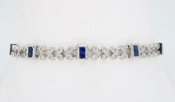 18K White Gold Sapphire and Diamond Bracelet