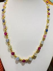Stunning 18kt Gold Colorful Sapphire Necklace