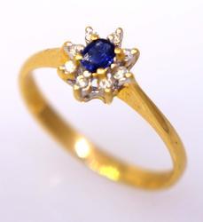 Petite Sapphire & Diamond Ring in Gold, Size 6.75